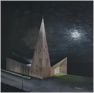 Knarvik Church in moonlight