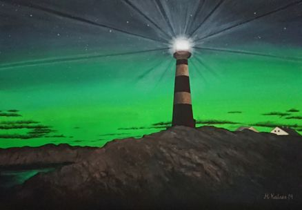 Hellisøy lighthouse in northern lights