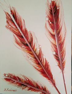 Feathers in red